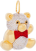 "Luxury Accessories:Accessories, Judith Leiber Half Bead Silver & Red Crystal Teddy Bear RattleOrnament . Excellent Condition . 2.5"" Width x 2""Height..."