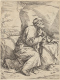 Fine Art - Work on Paper:Print, JUSEPE DE RIBERA (Spanish, 1590-1652). Penitence of SaintPeter, 1621. Etching with some engraving. 12-1/2 x 9-1/2inche...