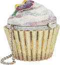 "Luxury Accessories:Bags, Judith Leiber Full Bead Silver & Yellow Crystal Cupcake Minaudiere Evening Bag . Excellent Condition . 4"" Width x 3"" H..."