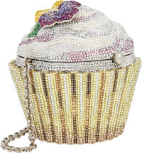 Judith Leiber Full Bead Silver & Yellow Crystal Cupcake Minaudiere Evening Bag Excellent Condition
