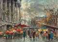 Fine Art - Painting, European:Contemporary   (1950 to present)  , ANTOINE BLANCHARD (French, 1910-1988). Flower Market,Madeleine. Oil on canvas. 13-1/8 x 18-1/8 inches (33.3 x 46.0cm)...