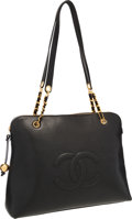 """Luxury Accessories:Bags, Chanel Black Caviar Leather Large CC Tote Bag with Gold Hardware.Very Good to Excellent Condition. 16"""" Width x 13""""He..."""