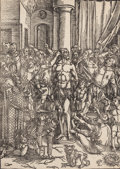 Prints, ALBRECHT DÜRER (German, 1471-1528). Flagellation, circa 1497. Woodcut. 15-1/4 x 11 inches (38.7 x 27.9 cm) (plate). 15-1...
