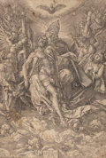 Fine Art - Work on Paper:Print, ALBRECHT DÜRER (German, 1471-1528). Holy Trinity, circa1511. Wood engraving. 11-1/4 x 15-3/8 inches (28.6 x 39.2 cm) (s...