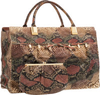 "Judith Leiber Taupe & Red and Green Python Tote Bag Fair Condition 16.5"" Width x 12"" Height x 5"""
