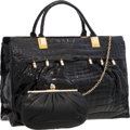 "Luxury Accessories:Bags, Judith Leiber Shiny Black Crocodile Tote Bag. Good to Very GoodCondition. 17"" Width x 11"" Height x 5"" Depth.CI..."