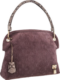 "Louis Vuitton Purple Monogram Suede Embossed Whisper Bag Excellent Condition 14.5"" Width x 12"""