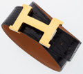 Luxury Accessories:Accessories, Hermes 75cm Shiny Black Crocodile Constance H Belt with GoldHardware . ...