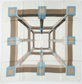"""Luxury Accessories:Accessories, Hermes 90cm White & Blue """"Perspective,"""" by A.M. Cassandre Silk Scarf. ..."""