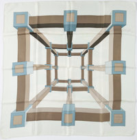 """Hermes 90cm White & Blue """"Perspective,"""" by A.M. Cassandre Silk Scarf"""