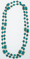 Luxury Accessories:Accessories, Chanel Teal Crystal & Gold Sautoir Necklace. ...