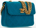 Luxury Accessories:Bags, Chanel Turquoise Quilted Jersey Mini Flap Bag with Gold Hardware....