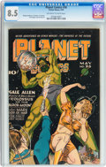 Golden Age (1938-1955):Science Fiction, Planet Comics #36 (Fiction House, 1945) CGC VF+ 8.5 Off-white towhite pages....
