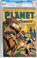 Golden Age (1938-1955):Science Fiction, Planet Comics #27 (Fiction House, 1943) CGC VF 8.0 Cream tooff-white pages....