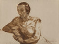 Works on Paper, LOTTE LASERSTEIN (German, 1898-1998). Sitting Study of Anna Karger, circa 1933. Oil on paper. 18-7/8 x 23-3/8 inches (47...