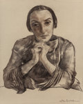 Fine Art - Work on Paper:Drawing, LOTTE LASERSTEIN (German, 1898-1998). Portrait Sketch of AnnaKarger, circa 1933. Charcoal on paper. 23-1/2 x 19 inches ...