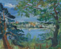 Paintings, FRANZ HECKENDORF (German, 1888-1962). Berlin Lake Through the Trees, 1929. Oil on panel. 15-5/8 x 19-3/4 inches (39.7 x ...