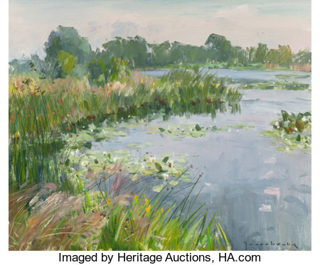 PAUL-JEAN ANDERBOUHR (French, 1909-2006)Quiet Pond with WaterliliesOil on canvas24 x 29 inches (61.0 x 73.7 cm)S...