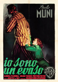 "I Am a Fugitive from a Chain Gang (Warner Brothers, R-1950s). Italian 2 - Foglio (39.25"" X 55"")"