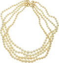 Estate Jewelry:Necklaces, Cultured Pearl, Gold Necklace. ...