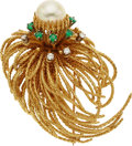Estate Jewelry:Brooches - Pins, Diamond, Emerald, Cultured Pearl, Gold Brooch. ...