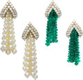 Estate Jewelry:Earrings, Diamond, Emerald, Pearl, Gold Earrings, Tallarico. ...
