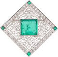 Estate Jewelry:Brooches - Pins, Edwardian Colombian Emerald, Diamond, Platinum, Gold Brooch. ...