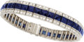 Estate Jewelry:Bracelets, Art Deco Diamond, Sapphire, Platinum Bracelet. ...