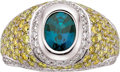 Estate Jewelry:Rings, Gentleman's Alexandrite, Colored Diamond, Diamond, Platinum Ring. ...