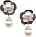 Estate Jewelry:Earrings, Diamond, Colored Diamond, South Sea Cultured Pearl, White Gold Earrings. ...