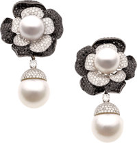 Diamond, Colored Diamond, South Sea Cultured Pearl, White Gold Earrings