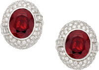 Ruby, Diamond, Platinum Earrings
