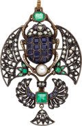 Estate Jewelry:Pendants and Lockets, Egyptian Revival Multi-Stone, Diamond, Cultured Pearl, Gold, SilverPendant-Brooch. ...