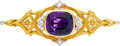 Estate Jewelry:Brooches - Pins, Art Nouveau Amethyst, Diamond, Platinum-Topped Gold Brooch. ...