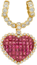 Estate Jewelry:Pendants and Lockets, Ruby, Diamond, Gold Pendant-Brooch. ...