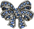 Estate Jewelry:Brooches - Pins, Antique Sapphire, Diamond, Silver-Topped Gold Brooch. ...