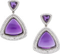 Estate Jewelry:Earrings, Amethyst, Diamond, White Gold Earrings, Eli Frei. ...