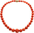 Estate Jewelry:Necklaces, Coral, Gold Necklace. ...