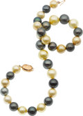 Estate Jewelry:Pearls, South Sea Cultured Pearl, Gold Necklace. ...