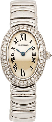 Cartier Lady's Diamond, White Gold Baignoire Wristwatch