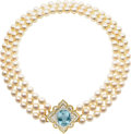 Art Glass:Daum, Aquamarine, Diamond, Cultured Pearl, Gold Necklace. ...
