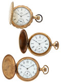 Timepieces:Pocket (post 1900), Two Waltham's & One Elgin Hunter's Case Pocket Watches Runners. ... (Total: 3 Items)