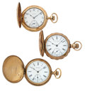 Timepieces:Pocket (post 1900), Seth Thomas, Elgin & Waltham Hunter's Case Pocket Watches. ...(Total: 3 Items)