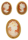 Estate Jewelry:Lots, Shell Cameo, Gold, Gold Filled Jewelry. ... (Total: 2 Items)