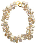 Estate Jewelry:Pearls, Cultured Freshwater Coin Pearl, Gold Necklace. ...
