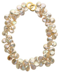 Cultured Freshwater Coin Pearl, Gold Necklace