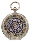 Timepieces:Pocket (pre 1900) , Tobias Of London Enamel On Silver Inlay Hunter's Case. ...