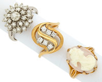 Diamond, Shell Cameo, Gold Rings