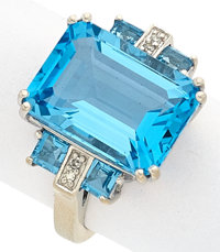 Blue Topaz, Diamond, White Gold Ring