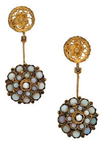 Opal, Cultured Pearl, Gold-Plated Earrings